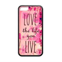 Wholesale Mobile Phone Flower Case - Wholesale Red Flower Love The Life Hard Plastic Mobile Phone Case Cover For iPhone 4 4S 5 5S 5C 6 6plus