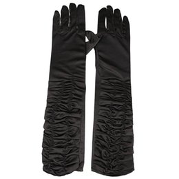 Wholesale Long Gloves For Sale - Wholesale-WSFS Hot Sale A Pair Long Stretch Satin Ruched Evening Gloves for Fancy Dress Costume - Black