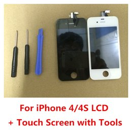 Wholesale Iphone 4s Lcd Screens - Good LCD Display With Touch Screen Digitizer Assembly Repair + Back Cover For iPhone 4 4G 4S
