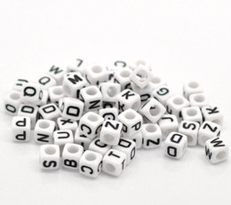 "Wholesale Cube Cap - Mixed White Alphabet  Letter Acrylic Cube Beads 6x6mm(1 4""x1 4""), 500Pcs (B18077), yiwu"