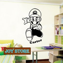Wholesale Personalized Names Stickers - Super Mario- Wall Decal Art Sticker Children Nursery Bedroom Personalized With A Name Of Your Choice 58*98CM Free shipping