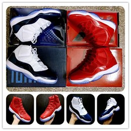 Wholesale Baskets Men - 11 Gym Red Chicago Win Like 96 Midnight Navy Win Like 82 Unisex Basketball shoes 11s bred concord gamma blue Men Sports Shoes Woman Athletic