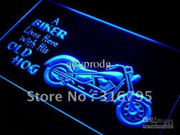 Wholesale Old Bar Signs - j041-b Biker Lives here with his old Hog Neon Sign
