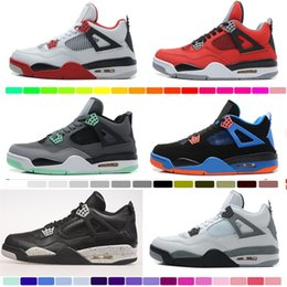 Wholesale Military C - Air retro 4 men Basketball shoes Military Motosports blue Alternate 89 Pure Money White Cement Royalty bred Fire Red Black Cat oreo sneakers