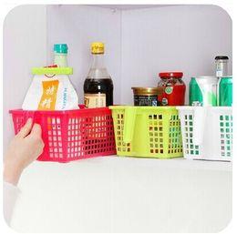 Wholesale Basket Handles Plastic - Storage basket with handle plastic Drain vegetables basket food books desktop storage cupboard basket A221