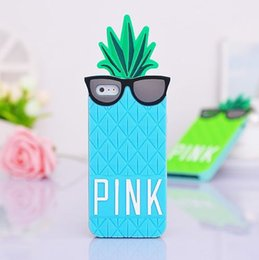 Wholesale Iphone Case Bag Silicon - For iphone 6 6G 4.7 inch 3D Pineapple Silicon Case Cute Cartoon Silicon Cover Skin Pouch Phone Cases Bags 30pcs lot