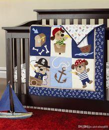 Wholesale Boy Bedding Crib Sets - New 7 pcs baby bedding set baby boy crib bedding set cartoon animal baby crib set Quilt Bumper Sheet Skirt