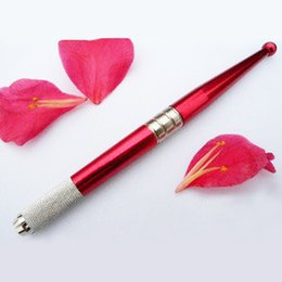Лезвия для бровей онлайн-Freeshipping Tattoo Permanent  Eyebrow Pen with 10 pcs needle blades (2 colors)