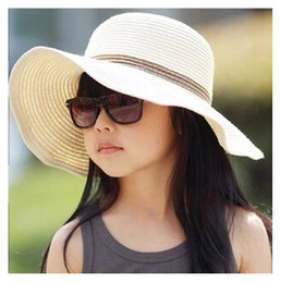 Wholesale Blue Straw Cowboy Hats - summer fashion girls sun hat 7 colors casual sun protection foldable beach girl's wide brim hat Chapeus YU0036