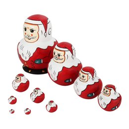 Wholesale Painted Russian - Wholesale- 10 Layers Cute Wood Christmas Santa Claus Nesting Dolls Russian Matryoshka Doll Hand Paint Toys Set Home Decor Gifts YH-