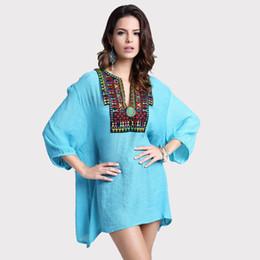 fd0b988456 Fashion Summer Tops Embroidery Long Sleeve Women Blouse Camisa Feminina L  XL XXL XXXL Plus Size Kimono Cotton Vintage Shirt 1563