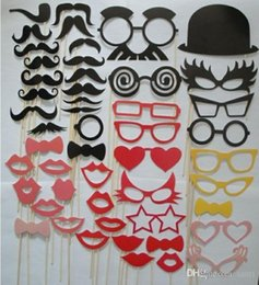 Wholesale Photography Props Glasses - Party wedding photography Photo Booth Prop Trendy Mustache Eye Glasses Lips on a Stick Mask