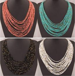 2019 ethnische perlen großhandel 2015 6 Farben Frauen Perlen Halskette Böhmischen Ethnic Measly Temperament Multilayer Halsketten Für Frauen Halsreif Modeschmuck Großhandel rabatt ethnische perlen großhandel