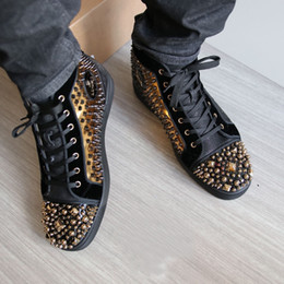 Wholesale Men High Top Dress Shoes - Gold Spikes Studded Men Lover Genuine Beads Leather Party Dress Design High Top Outdoor Red Bottom Sneakers Shoes,Luxury Casual Red Sole Fla