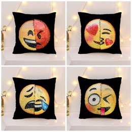 Wholesale face pillows - Mermaid Sequin Pillowslip Creative Bedroom Decoration Pillow Case Cute Changing Face Emoji Cushion Cover Many Styles 12zr C R