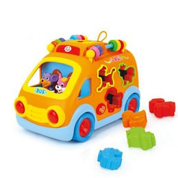 Wholesale Ship Baby Electric Car - 2016 new free shipping,intelligence Cartoon animal bus, electric music multifunction baby toy car Learning Toys
