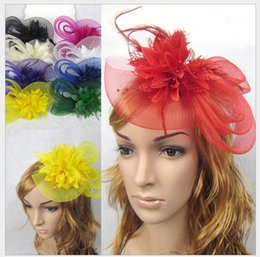 Wholesale Soft Toy Flowers - Good 10pcs Feather and flower Fascinator Hat with black headband- wedding ladies day Christmas Toy