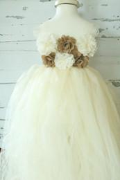 Wholesale Red Burlap Ribbon - Ivory Tulle Tutu- Flower Girl Dress- Ivory - Rustic Flower Girl Dress - Burlap Flower Girl Dress - Tutu