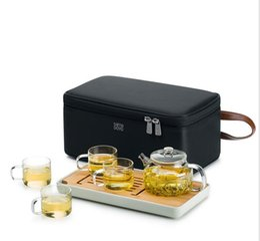Wholesale tray for tea - Portable Tea Cups Teapot Tea Tray Travel Tea Sets High-end Nylon Bag For Gift Easy To Carry Super Slim Health