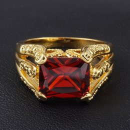 Wholesale Garnet Ring Set - Men's Vintage Red Garnet Gemstone 18K Yellow Gold Filled Gem Claw Ring for Men Nice Gift