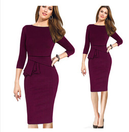Wholesale Three Quarter Length Dresses - 2017 New Autumn and Winter Dress For Office Lady Slim Three Quarter Sleeves European Women Plus Size Pencil Dress