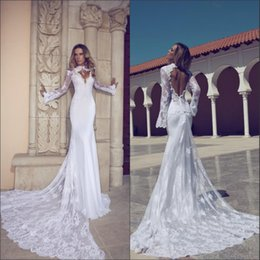 Wholesale Trendy Red Dresses - 2016 Trendy Mermaid Sexy Wedding Dresses Long Sleeve High Neck Open Back Lace Bridal Gowns Sweep Train Long White Beach Dresses for Wedding