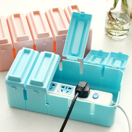 Wholesale Dust Plug Socket - Chocolate Shape Multi Power Storage Box Plug Socket Anti-dust Cable Wire Cord Organizer Box Shelves Household for Baby Safety