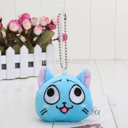 Wholesale Happy Plush Fairy Tails - Wholesale-20pcs lot fairy tail key chain 7cm happy cat Soft Plush Toy Pendant