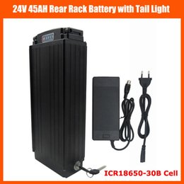 Wholesale 24v Li Ion Charger - 24V 700W Rear Rack Battery 24V 45AH EBike Li-ion battery Use for samsung 30B cells with Tail light 30A BMS 29.4V 3A charger