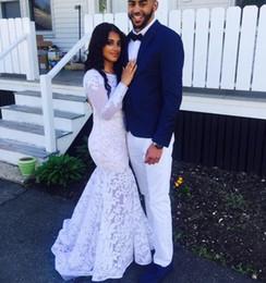 Vestido de casamento de manga cheia de comprimento sexy on-line-Sexy 2019 primavera vestidos de casamento sereia vestidos de noiva de jóias de manga comprida até o chão vestidos de noiva de renda completa robe de mariée