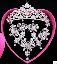 Wholesale Earring Box Heart - New Luxury Butterfly Flower Crystal Three-piece Bridal Accessories Earrings Necklaces Tiaras Hair Accessories Wedding Jewelry Sets with Box
