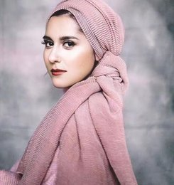 Wholesale Plain Cotton Scarves - crinkle ripples scarves scarf women wrinkle plain viscose shawls wrap raised grain drape muslim headband cape 24 colors