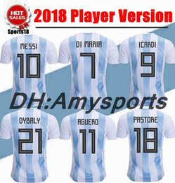 Wholesale Messi Football Player - 2018 Player Vers Argentina Soccer Jersey 2018 world cup Argentina kit Home soccer Shirt Custom Messi Aguero Di Maria football