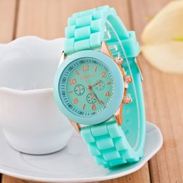 Wholesale New Shadow Style Geneva Watch - 2016 Promotion Casual Lovers' Orange Brown New Shadow Style Geneva Watch Rubber Candy Jelly Fashion Men Wamen Silicone Quartz Watches 100pcs