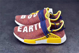 Wholesale Pw Blue - Pharrell Williams X Men NMD Human race Trail Sneaker Earth & Body HU PW Women Running shoes Trainer sports shoes Rainbow size 36-48