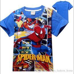 Wholesale Spiderman Shirts For Girls - 10PCS fashion t shirt girls' cartoon Spiderman tshirt Print Cotton t shirts children's kids summer tops for kids clothes boys BFH9
