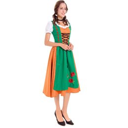 Wholesale Vintage Carnival Dress - Cosplay Maid Costumes One-Piece Dress Masquerade Female Halloween Carnival Oktoberfest Festival Holiday Halloween Costumes Green Vintage