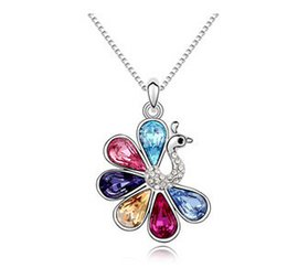 Wholesale Swarovski Necklace Designs - Women Fashion Necklace High Quality Peacock Pendants Branded Design 18K White Gold Plated Made With Swarovski Elements 10318