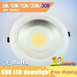 led ceiling downlight kit Canada - Wholesale-30W 10pcs Wholesale COB Led Ceiling Downlight Recessed Ceiling Lamp Kit Lamparas de Techo Luminaria Teto Embutir Free Shipping
