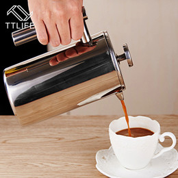 Wholesale French Press Filters - Top Quality 800MLStainless Steel French Press Coffee Tea Pot with Filter Double Wall Insulation Delicate Coffee Maker NB