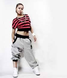 Wholesale Dancer Hip Hop - Wholesale- New Fashion Hip Hop Sports Dancer Jeans Pants Unique Casual Loose Trousers Red Gray Black Size M-XXL zx*E2742#S8
