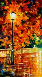 2019 fahrrad malerei öl Kostenloser Versand Unframed auf Leinwand Russische Föderation Ölgemälde Straßenlaterne Fahrrad Liegestuhl Brücke Fluss Schnee Regen Baum Regenschirm rabatt fahrrad malerei öl