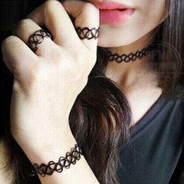 Wholesale Tattoo Choker Necklace Wholesale - Charming Vintage Style 90's Black Tattoo Choker Necklace Bracelet Ring Set Elastic Stretch Gothic 3pcs Jewelry Sets