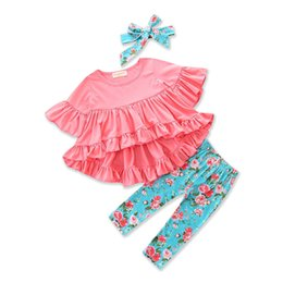 Wholesale Girls Ruffle Pants Cotton - Everweekend Girls Ruffles Cotton Outfits with Headbands Tees and Pants Outfits Candy Color Cute Children Autumn Spring Clothing