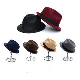 Wholesale Ladies Felt Hats Wholesale - Wholesale-2016 Fashion New Men Ladies Wool Felt Panama Trilby Fedora Jazz Dance Bowler Hat Cap with Satin Bowknot 6 Color