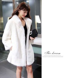 Wholesale Long White Mink Fur Coat - Free size Winter Parka Women turn-down collar Faux Fur Coat Long Thicken Mink Fur Coats Large Fox Fur Collar