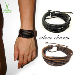 Wholesale Woman Paints - Monochrome Woven Leather Bracelet Pure Hand-painted Leather Rope Bracelets WOMEN AND MEN Bracelet Pi Shipin Wholesale 9132