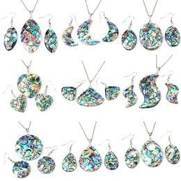 Wholesale Pendulum Wholesale - Women Ladies Beautiful Natural Abalone Shell Dangle Earrings Reiki Pendulum Pendant Sets Charms European Fashion Jewelry 9X Mix