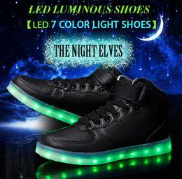 lâmpadas altas Desconto 2016 de Alta qualidade CONDUZIU a luz de sete cores sapatos de mulheres e homens de alta sapatos USB recarregável lâmpada preto e branco sapatos casuais