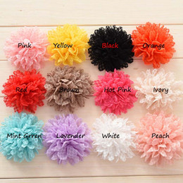 Wholesale Little Silk Flowers - 24pcs baby girls tulle flower Eyelet Fabric hair flower Little gilr hair accessories hair bows No hairclip
